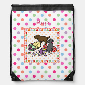 Personalized Three Labrador Puppies from Eggs Drawstring Bag