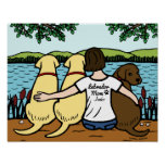 Personalized Three Labradors and Mom ポスター