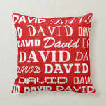 "Personalized throw pillow | custom name typography<br><div class=""desc"">Personalized throw pillow with custom name typography. Cute Birthday gift idea for men,  women and kids. Personalizable home decor with typographical design. Customizable red background color with white typographic letters. Decorations for kids room,  nursery,  bedroom,  sofa etc.</div>"