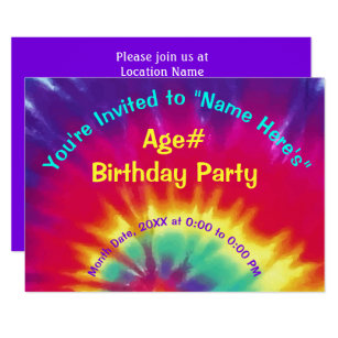 tie dye invitations zazzle