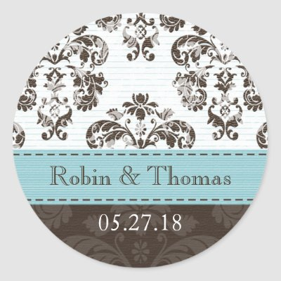 Personalized Tiffany Blue and Brown Damask Wedding Stickers by
