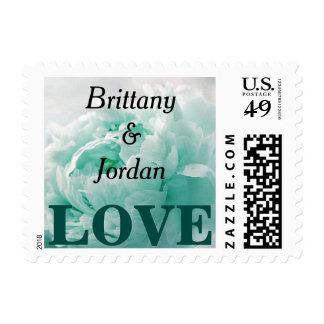 Personalized Tiffany Blue Peony LOVE Postage Stamp