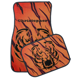 Personalized Tiger Stripe Head Growling Face Car Floor Mat