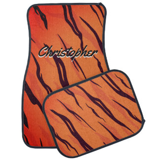 Personalized Tiger Stripes Orange and Black Car Floor Mat