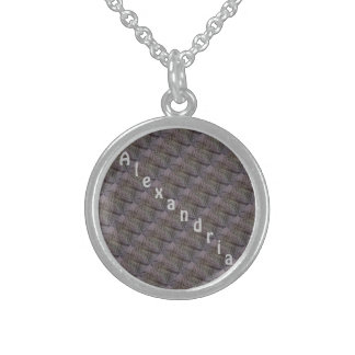 Personalized Tiled Weave Round Pendant Necklace