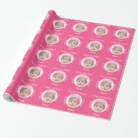 Personalized tiny hearts photo pink wrapping paper