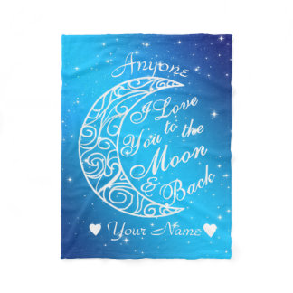 Personalized To The Moon and Back Fleece Blanket