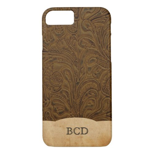 Personalized Tooled Leather Look Rustic Country Phone Case