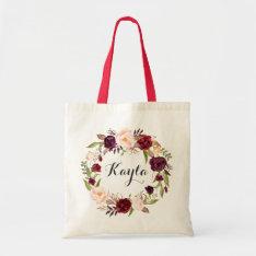 Personalized Tote Bag. Floral Tote Bag. Bridesmaid at Zazzle