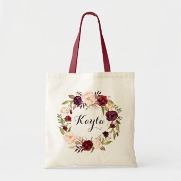 HannahMaria Personalized Tote Bag. Floral Tote Bag. Bridesmaid