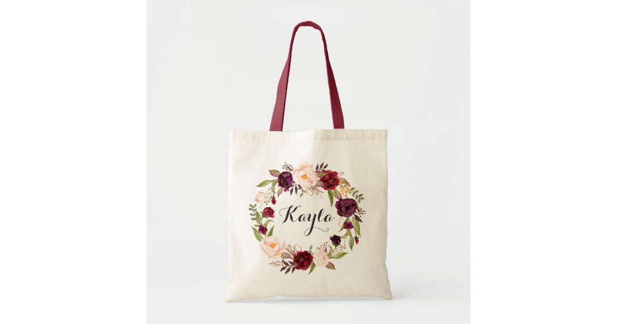 personalized tote bag floral tote bag bridesmaid zazzle com