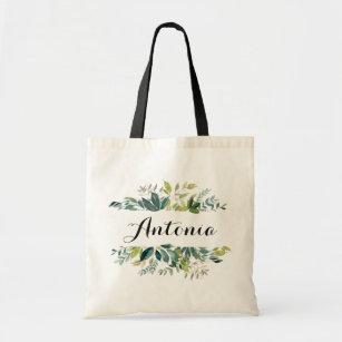 Personalized Tote Bag Green Bridesmaid