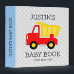 """Personalized toy dump truck boy baby photo album 3 ring binder<br><div class=""""desc"""">Personalized toy dump truck boy baby photo album. Personalizable new baby binder book with cute dumptruck illustration. Cute white polka dots pattern with construction vehicle design for newborn boy. Customizable background color. Adorable baby illustration for photo album of child, son, grandchild, granddaughter, grandson, nephew etc. Sweet gift idea for fun...</div>"""
