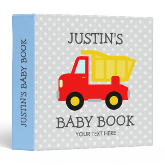 Personalized toy dump truck boy baby photo album 3 ring binder