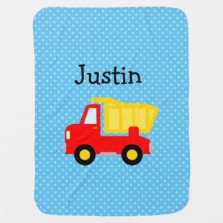 Personalized toy dump truck polkadot baby blanket