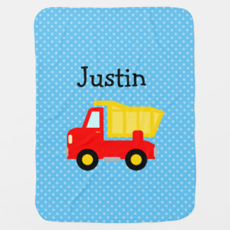 Personalized toy dump truck polkadot baby blanket