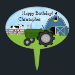"Personalized Tractor and Barn Birthday Cake Topper<br><div class=""desc"">Cute Personalized Green Tractor,  Blue Barn and Cow Farm Happy Birthday Cake Topper.</div>"