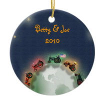 Personalized Tractor Christmas Ornament: Peace on  Ceramic Ornament