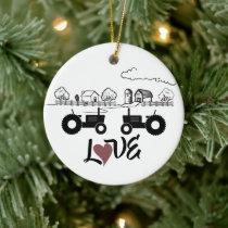 Personalized Tractor Couple Farm LOVE Christmas Ceramic Ornament