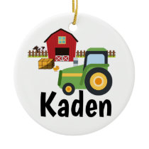 Personalized Tractor Farm Kids Ceramic Ornament