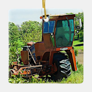 Personalized Tractor Farming Midwest  Christmas Ceramic Ornament