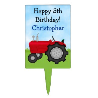 Personalized Tractor Happy Birthday Cake Topper