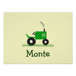 Personalized Tractor Wall Art: Green Tractor Poster