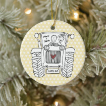 Personalized Tractor Wedding Ceramic Decoration