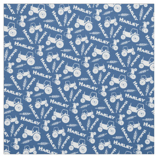 Personalized tractor wheat farm named blue fabric