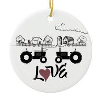 Personalized Tractors Couple Farm LOVE Christmas Ceramic Ornament