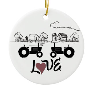 Personalized Tractors Couple Farm LOVE Christmas Ceramic Ornament