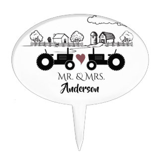 Personalized Tractors in Love Country Farm Wedding Cake Topper