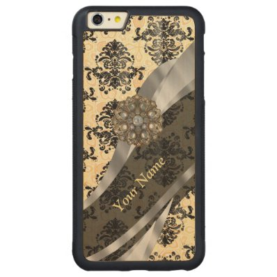 Personalized traditional vintage damask carved® maple iPhone 6 plus bumper case