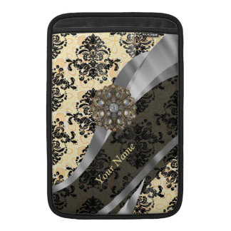 Personalized traditional vintage damask MacBook sleeve