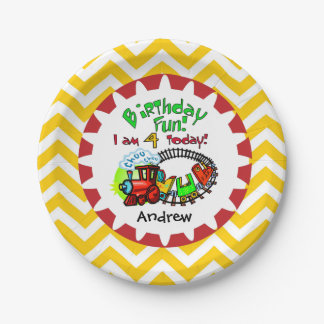 Personalized Train 4th Birthday Paper Plates 7 Inch Paper Plate