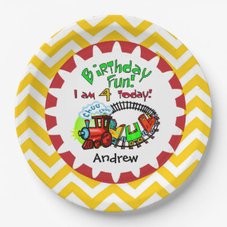 Personalized Train 4th Birthday Paper Plates 9 Inch Paper Plate
