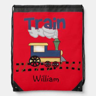 Personalized Train Drawstring Bag