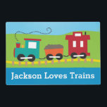 """Personalized Train Playmat Placemat<br><div class=""""desc"""">Personalize the front with a child&#39;s name,  the other side is a playmat.</div>"""