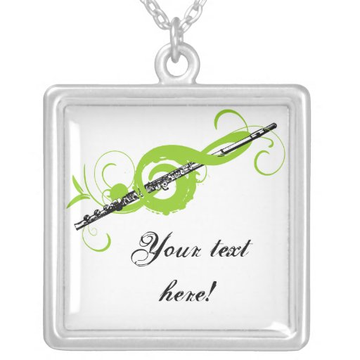 Personalized Treble Clef & Flute Personalized Necklace
