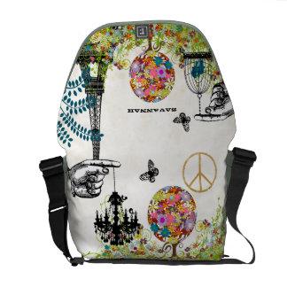 Personalized Tree Eiffel Tower Birdcage Chandelier Messenger Bag