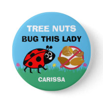 Personalized Tree Nut Allergy Alert Ladybug Button