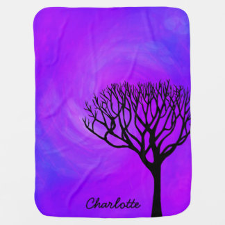 Personalized Tree Silhouette (Northern Lights) Baby Blanket
