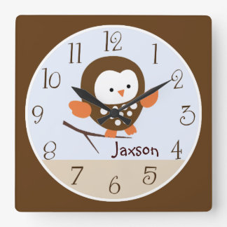 """Personalized """"Tree Tops Owl/Forest Friends"""" Clock"""