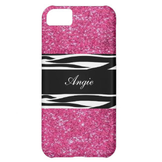 Personalized Trend Pink Glitter & Zebra Bling Cover For iPhone 5C