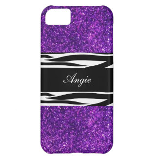 Personalized Trend Purple Glitter & Zebra Bling Cover For iPhone 5C