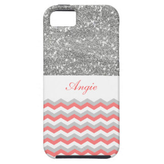 Personalized Trend Silver Glitter & Chevron Bling iPhone 5 Cover