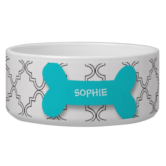 Personalized trendy aqua dog bone pet food bowl