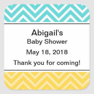 Personalized Trendy Chevron Baby Shower Stickers
