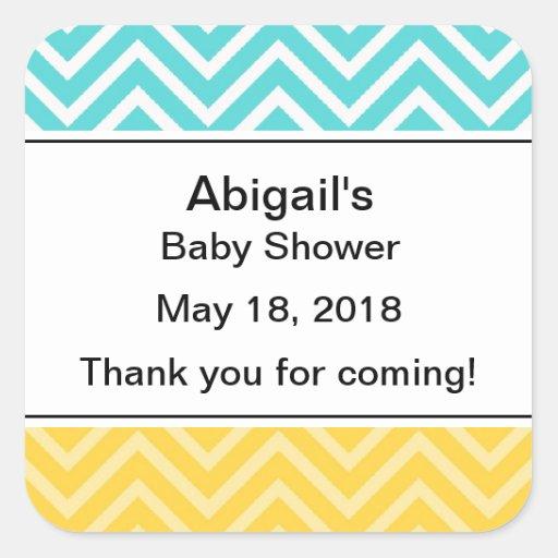 personalized trendy chevron baby shower stickers zazzle