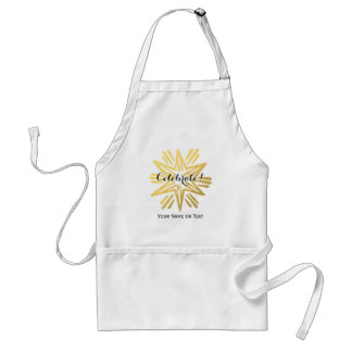 Personalized Trendy Gold Foil Star Festive Holiday Adult Apron